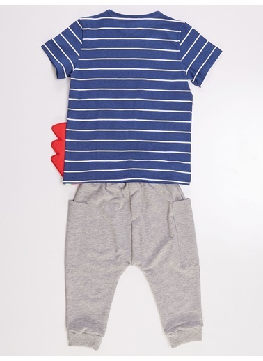 Denokids Denizci Dino Erkek Çocuk Tshirt&Kapri Takım Renkli